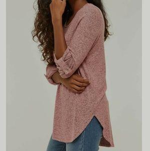 Oversized soft pink tunic sweater